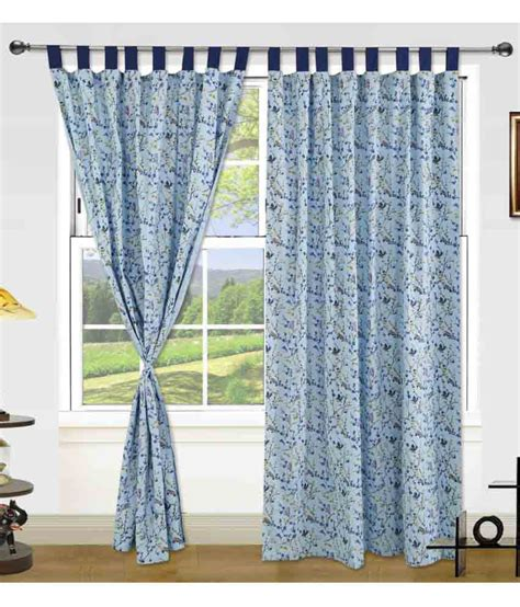 dekor world curtains dekor world set of 2 window eyelet curtains floral blue