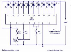 12v Battery Level Indicator Circuit  Led Bargraph Electronics Project Circuts