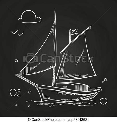 Hand sketched boat on blackboard. white vector sailboat in ...