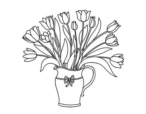 dibujo de jarr 243 n de tulipanes para colorear dibujos net