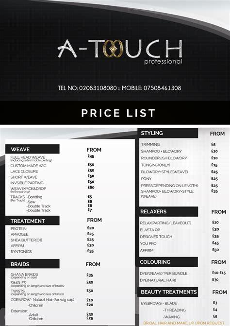 price list hair salon vive designs