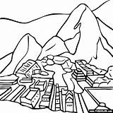 Machu Picchu Pichu Pintar Maravilhas Thecolor Pis Manneken Inca Patrias Felices Cuadriculado Doverpublications sketch template