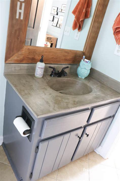 concrete bathroom sink diy remodelaholic diy concrete countertop reviews