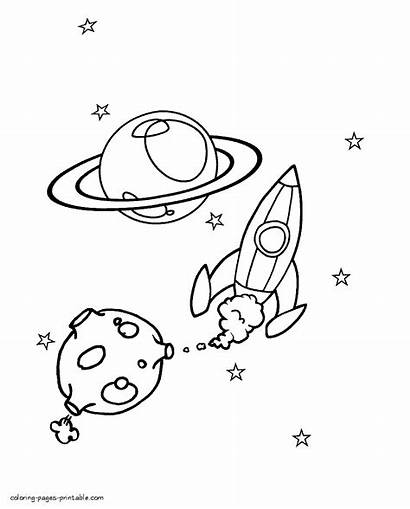Space Coloring Pages Themed Printable Boys