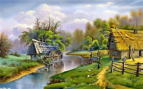 beautiful landscape river mill  wallpaperscom