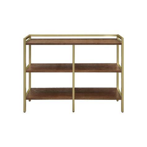 gold metal bookcase seymore walnut gold horizontal bookcase