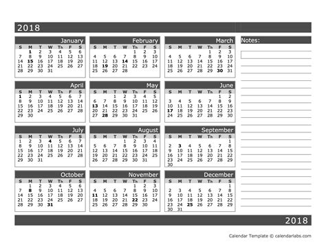2018 calendar template calendarlabs 2018 blank 12 month calendar in one page free printable templates