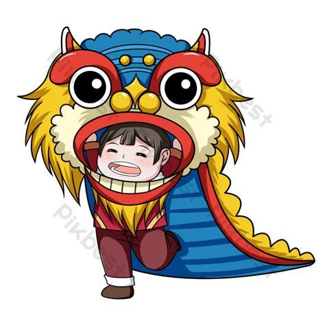 hand drawn cartoon character dancing lion png images psd
