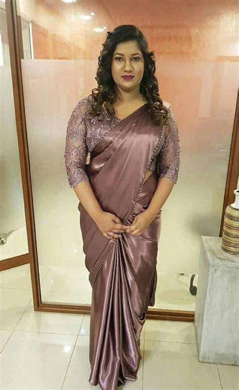 Pin by Jhon walter on Indian Aunties   Satin saree, Saree ...