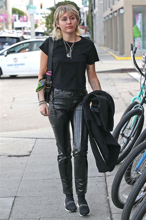 miley cyrus arrives   studio leather celebrities