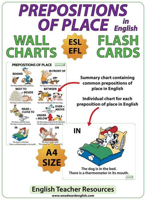 prepositions  place esl charts prepositions english