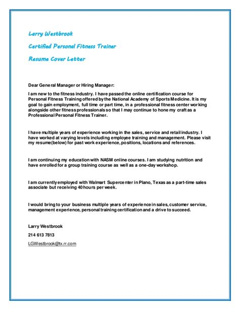 fitness general manager cover letter larry westbrook resume