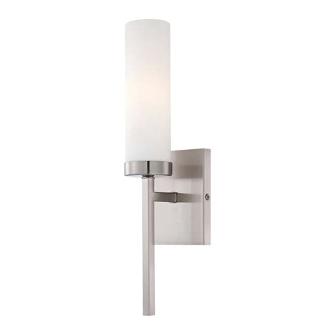 modern sconce wall light with white glass in brushed nickel finish 4460 84 destination lighting