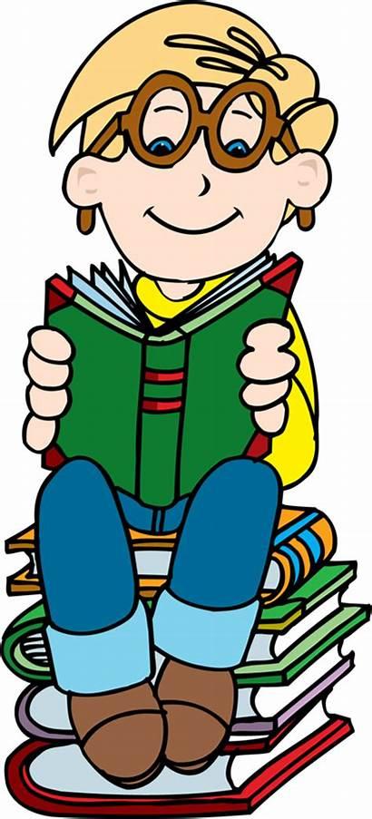 Reading Clipart Books Boy Clip Child Stack