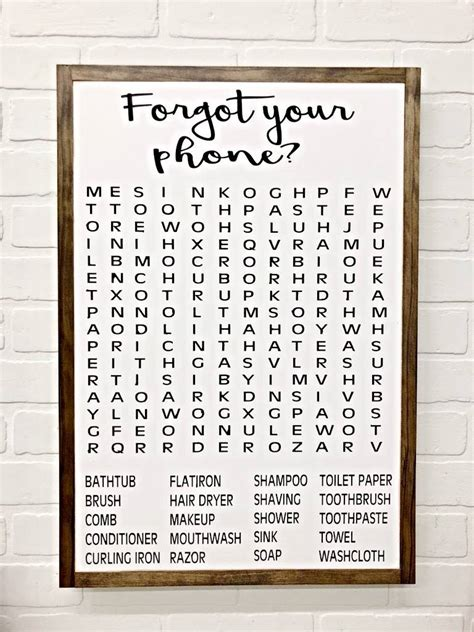 bathroom word search rustic roots