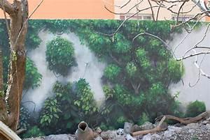 Mur Trompe L Oeil : deco murale trompe l 39 oeil pour camoufler un mur du jardin projet v randa deco mur exterieur ~ Melissatoandfro.com Idées de Décoration