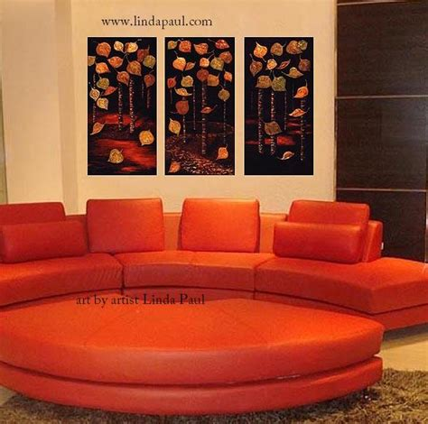 Sofa Paintings by Contemporary Aspen On Canvas Aspen Leaves And Tree
