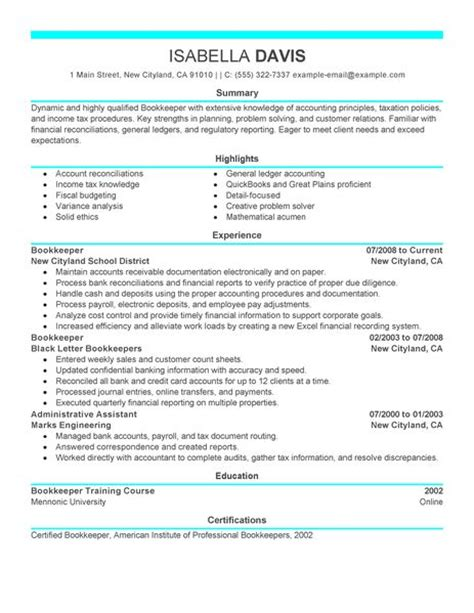 best bookkeeper resume exle livecareer