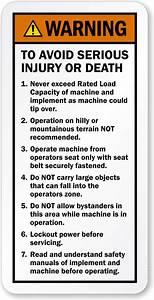 Backhoe And Excavator Warning Labels