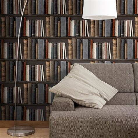 papier peint vinyl pour cuisine papier peint vinyle sur intissé bibliotek marron leroy