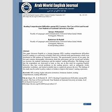 (pdf) Reading Comprehension Difficulties Among Efl Learners The Case Of First And Second Year