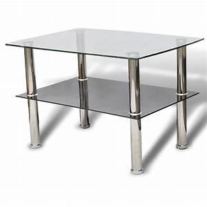 Table De Chevet Verre : la boutique en ligne table basse en verre 2 plateaux ~ Teatrodelosmanantiales.com Idées de Décoration