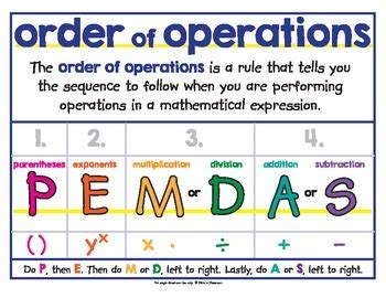 Order Of Operations  Pemdas  Poster By The Illustrated Classroom  Teachers Pay Teachers