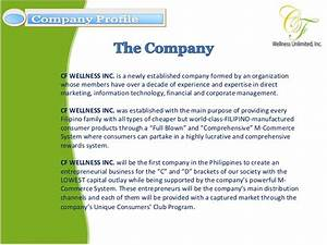 cf wellness company profile presentation With information technology company profile template