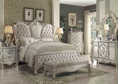 vintage bed set traditional antique ivory velvet king bed for luxury