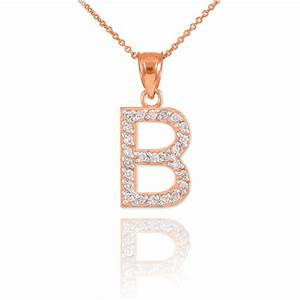 rose gold letter quotbquot diamond initial pendant necklace With diamond initial letter necklace