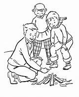Coloring Camping Pages Camp Fire sketch template