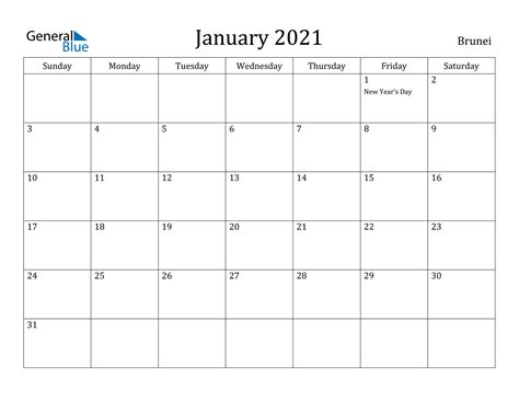 january  calendar brunei