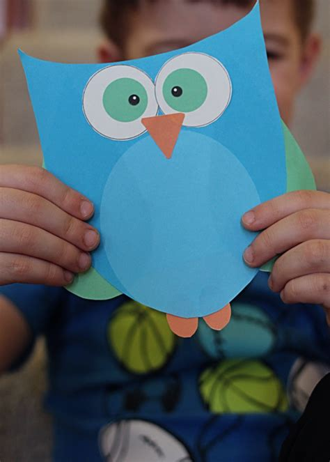 printable owl craft choose pink or blue 674 | Owl Craft feat
