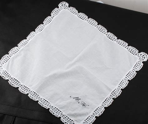 monogrammed handkerchief ladies hankie embroidered 12 quot x 12 quot personalized lace decoration handkerchief custom