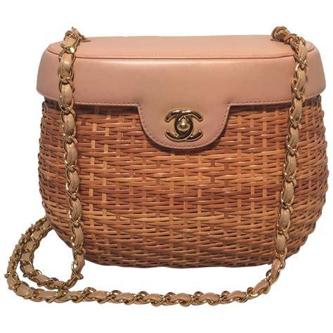 rattan bag chanel rattan and leather basket shoulder bag at 1stdibs