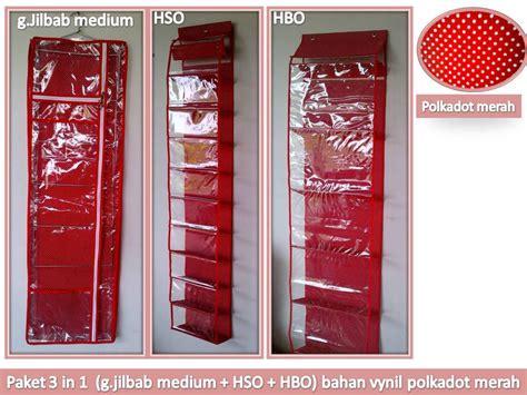 annelize boutique paket 3 in 1 motif polkadot merah gantungan jilbab hbo hso