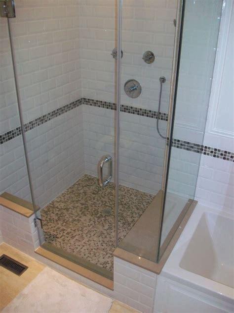 bathroom reno with subway tile and travertine floor