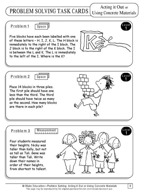 problem solving task cards act it out or use concrete