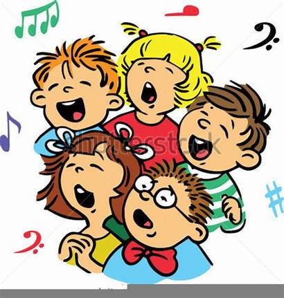 Clipart Singing Sing Song Children Unison Vector