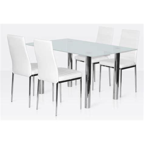 ensemble table et chaise salle manger ensemble salle à manger 4 chaises table en verre blanc