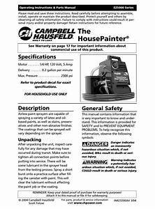 Campbell Hausfeld Housepainter Ez5000 Series Operating