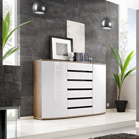 High Gloss Sideboards Uk by Buy Toronto High Gloss White San Remo Oak Sideboard
