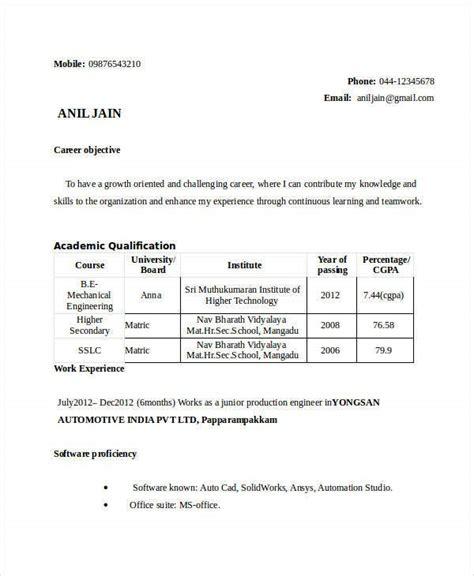 cv sample  mechanical engineer fresher june