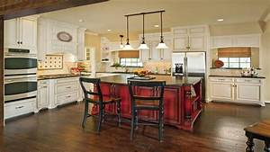 Modern wood end tables, red kitchen island with white ...