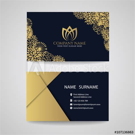 business card gold floral frame  lotus logo  gold
