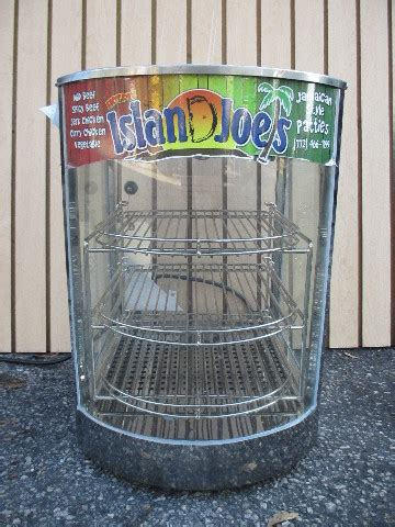 omcan curved glass countertop food warmer display case island joes