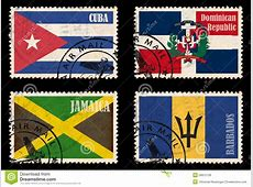Set Of Stamps With Flags From The Caribbean Royalty Free