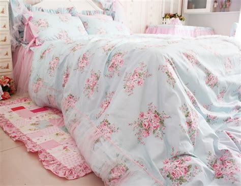 floral shabby chic bedding princess shabby chic floral blue duvet comforter cover set queen double single ebay