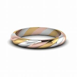 tri tone twisted rope women wedding band in 14k white gold With wedding ring bands for women