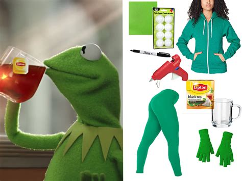 Meme Costume Ideas - here s the truth tea kermit meme costume you need for halloween meme costume costumes and